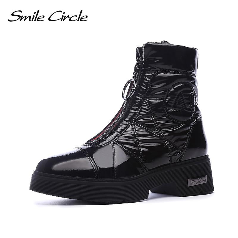 2019 bottes d'hiver femmes bottes de neige chaud vers le bas chaussures facile à porter fille blanc noir zip plate forme chaussures grosses bottes sourire cercle - 2