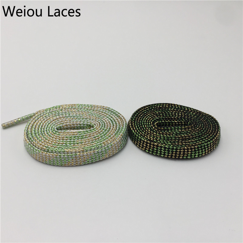 все цены на (30Pairs/Lot)Weiou 7mm Flat Black White Light Green Glitter Shoelaces Running Metallic Sparkle Coloured Shiny Shoe Laces Strings онлайн