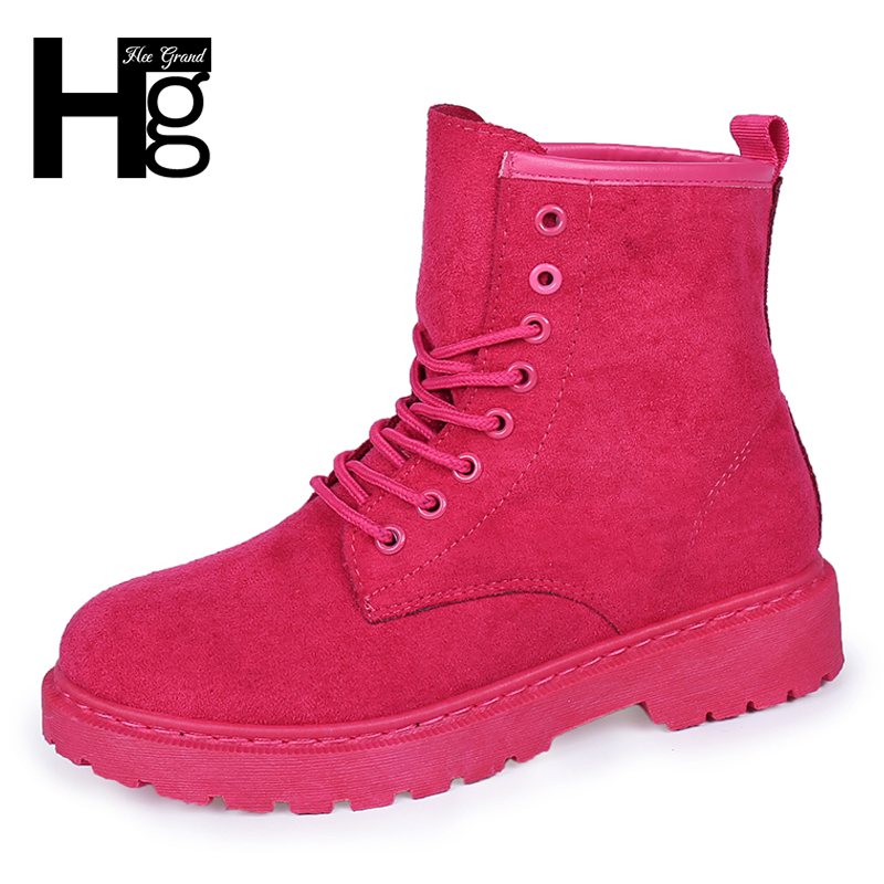 купить HEE GRAND 2019 Women Ankle Boots Lace up Solid Buckle Denim Women Boots Creepers Rubber Flat Shoes Woman Size 35-39 XWX6787 по цене 828 рублей