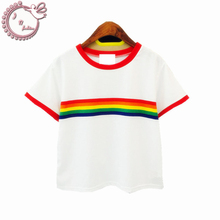 new 2017 rainbow Stripe woman t shirt slim tees all-match cotton short-sleeve o-neck harajuku T-shirt women top Women's Clothing