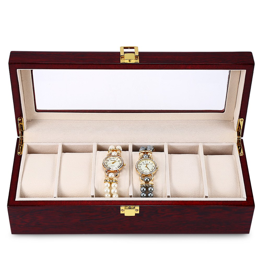 High Quality 6 Slots Luxury Wood Watch Display Case Watches Box Elegant Jewelry Storage Organized caixa para relogio free shipping 6 slots brand watch display box red high light mdf watches box fashion watch storage boxes case w026