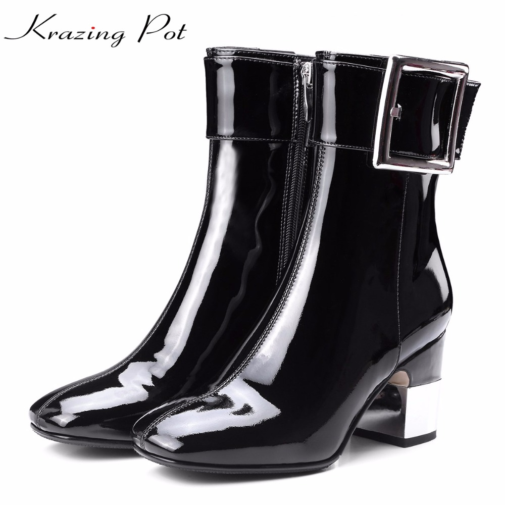 Krazing Pot genuine leather gladiator square buckle metal high heels European square toe women fashion fairy mid-calf boots L93 double buckle cross straps mid calf boots