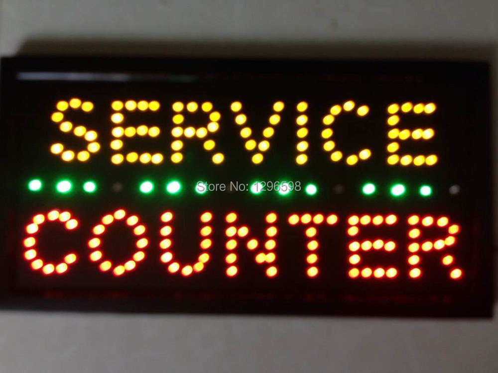 2017 direct selling custom led open sign 10*19 inch semi-outdoor Ultra Bright flashing service counter signage