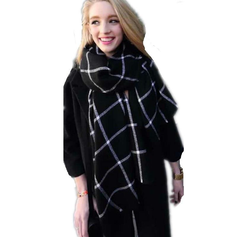 Classic Black White Plaid Oversized Cashmere Feel Tørklæde Spanien - Beklædningstilbehør