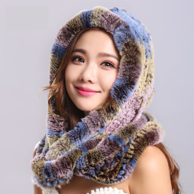 Thick autumn winter warm real rabbit fur scarf and hat Women with a hood rex rabbit