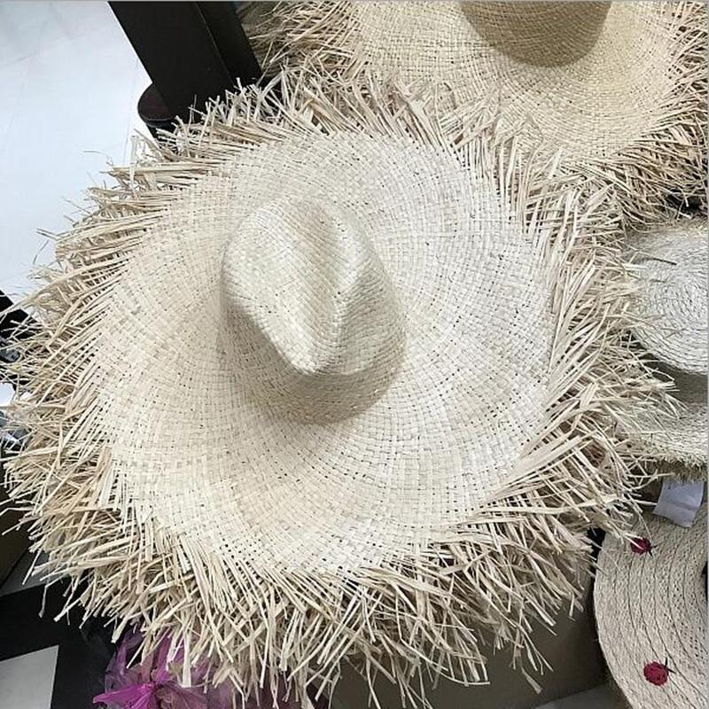 Natural Large Wide Brim Raffia Straw Hats Women Summer Beach Caps Hollow Out Big Straw Hats