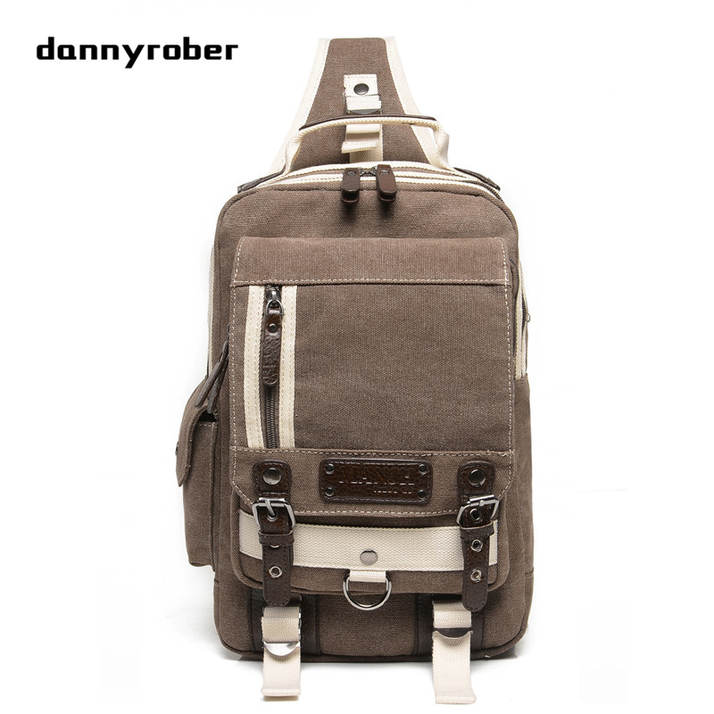 Men's Chest Bag Canvas Sling Bag Multifunctional Small Male Crossbody Bags Shoulder Bags F098