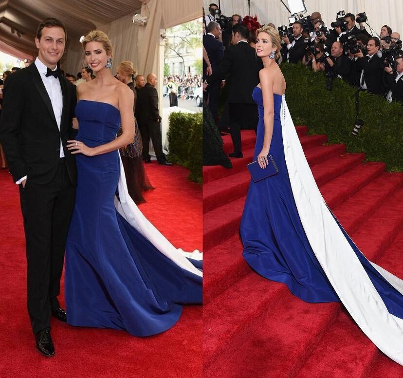 Robes de soirée nouvelle 2015 Met Gala Trump Red Carpet robes de soirée bleu Royal robes de soirée droite Lace Up robes