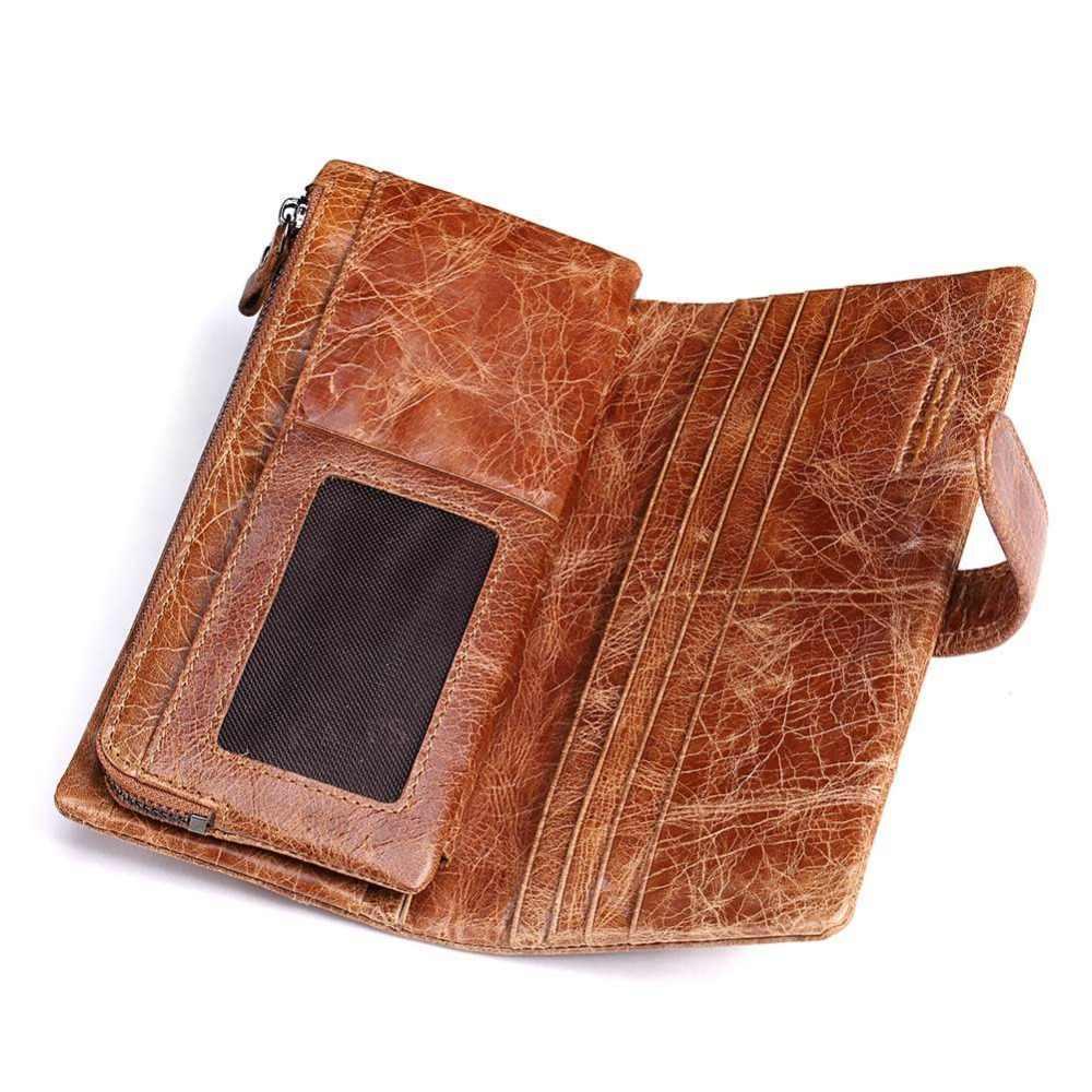KAVIS grabado gratis Crazy Horse hombres billetera monedero largo embrague Walet Portomonee cartera mano dinero DIY nombre para hombre