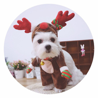Funny Dog Cat Costumes Pet Christmas Elk Santa Claus Cosplay Suit Halloween X Mas Apparel Clothes