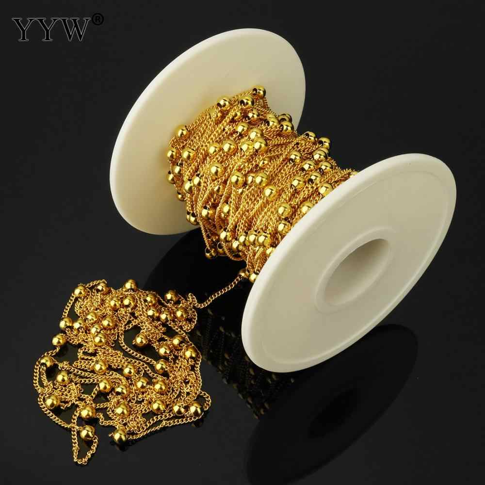 Stainless Steel Gold Chains For Jewelry Diy Enamel Twist Oval Chain Ball Beaded Chain For Women Necklace Bracelets Anklet Making