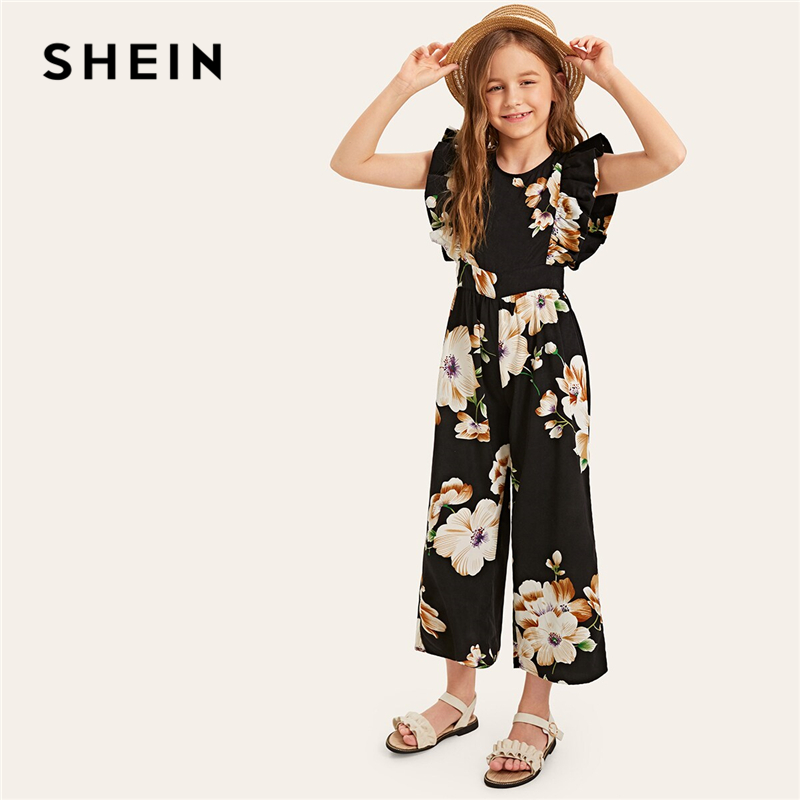 Image 4 - SHEIN Kiddie Floral Print Wide Leg Holiday Girls Jumpsuit 2019 Summer Cap Sleeve Ruffle Boho Beach Teenager Long Jumpsuits-in Overalls from Mother & Kids