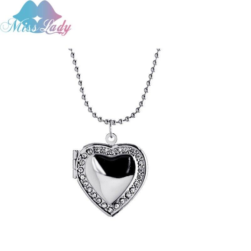 Miss Lady Trendy Crystal Love locket pendant necklace Photo Frame ...