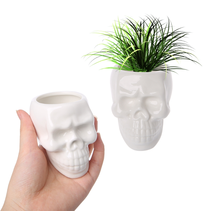 Creative Skull Ceramic Flower Pot Green Succulent Planter Plant Container Decor title=