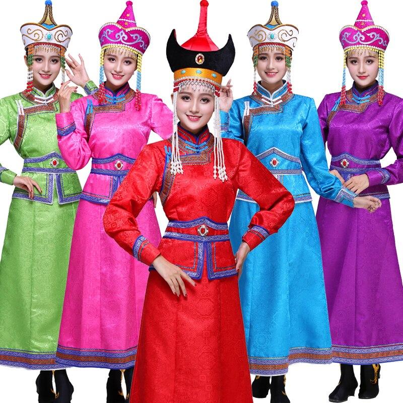 1fc1b1a4a78a R$ 321.26 6% de desconto Mongol roupas performance de palco trajes étnicos  mulheres Mongólia vestes novo adulto moderno trajes de dança Mongol-in ...