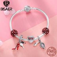 dcae14420e12 925 Sterling Silver Bracelets High Heels Shoes Heart Red Enamel Bracelets  Bangles For Women Authentic Silver. Pulseras de plata ...