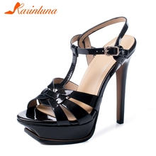 цены KARINLUNA Luxury Brand Genuine Leather Sexy Super High Heels Summer Wedding Sandals Woman Shoes Women Party t-strap Sandal