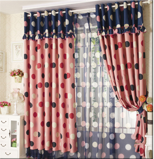 Free Shipping Textiles Bedroom Curtains Powder Blue Polka Dot Rustic  Dodechedron Curtain Child Piaochuang The Finished