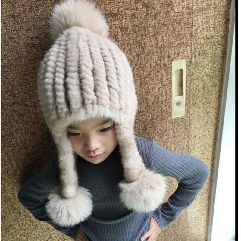 2017 Fashion Children Mink Knitted Hat with Fox Fur Ball Pompoms Hats Girls Autumn Winter Warm Solid Hats Baby Beanies Caps H#10 autumn winter beanie fur hat knitted wool cap with silver fox fur pompom skullies caps ladies knit winter hats for women beanies