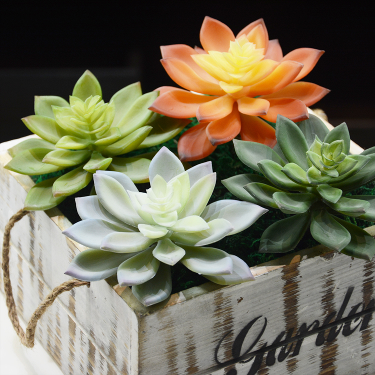 Artificial fleshiness Lotus Fake green Succulent plant microlandschaft decorative flower home vase decoratio interior decoration