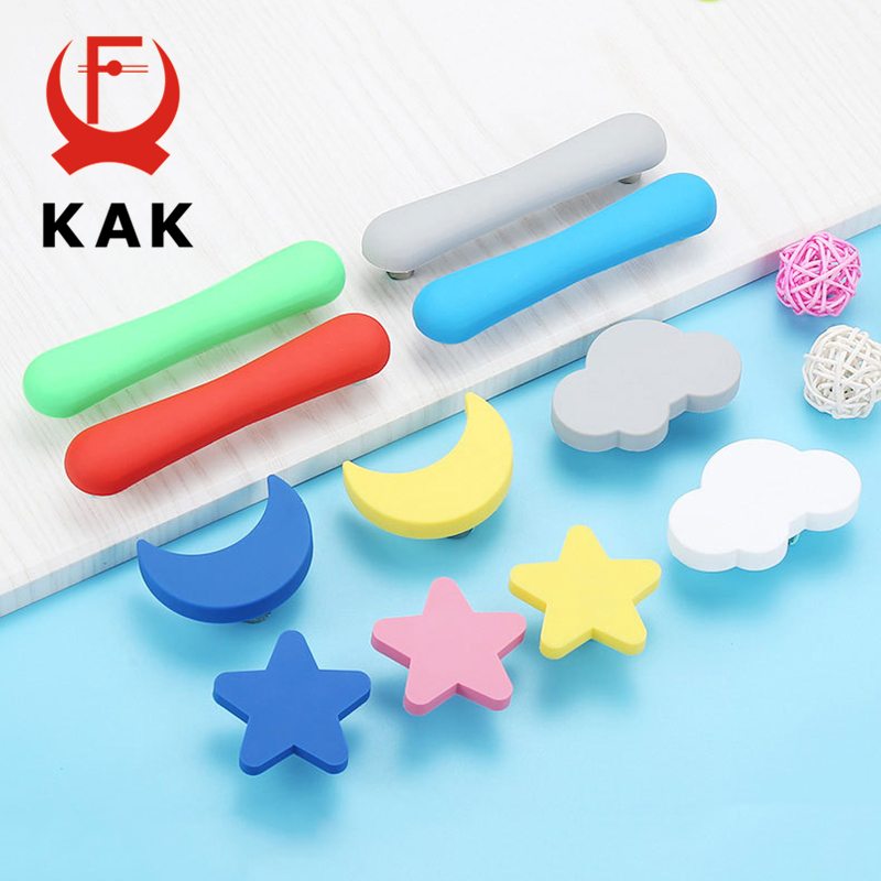 KAK Children Room Knobs And Handles Moon Star Cartoon Furniture Handles PVC Cloud Door Knob Kids Drawer Cabinet Pulls For Kids