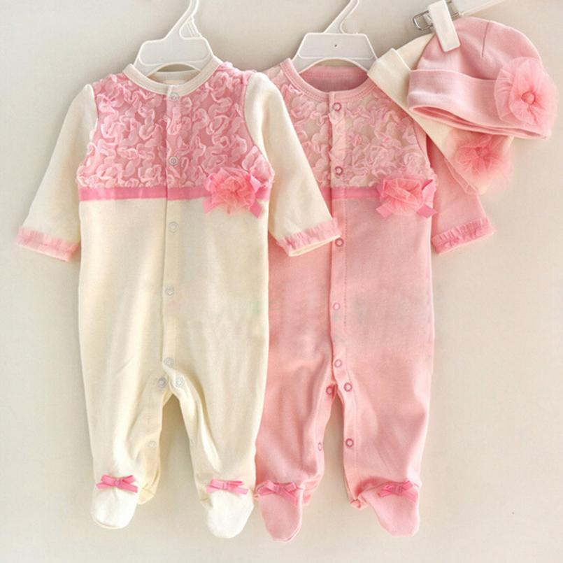 TELOTUNY Girls Clothes Newborn Baby Girls Cap Hat+Romper Playsuit Clothing Set Outfit Cotton E30 Jan10