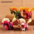 Vintage Hecho A Mano De Color Pony llavero Paño Étnico Joyería Colorida de la Historieta Animales 3D Llavero Regalo Creativo Llavero K-237