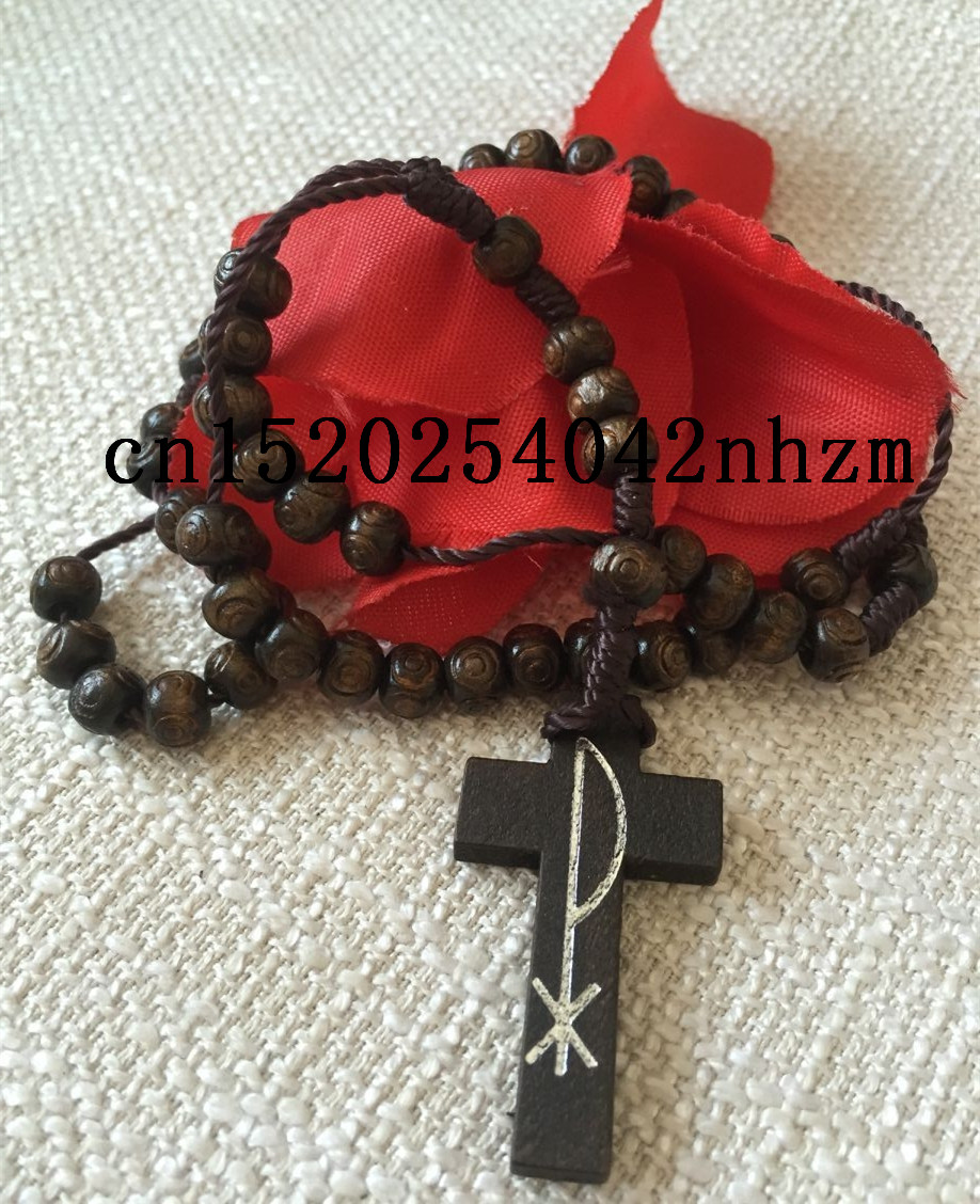 brown color religious wooden 6*7mm bead rosary,wood rosary special offer