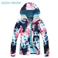 Gsou снег для женщин Лыжный сноуборд куртка брюки для девочек зима водонепроницаемый лыжный костюм Женская спортивная куртка