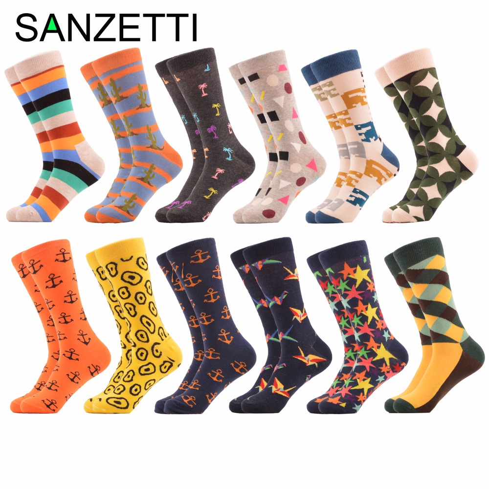 SANZETTI 12 pairs/lot Mens Colorful Combed Cotton Funny Socks Casual Argyle Crane Crew Socks Novelty Dress Socks US Size 7.5-12