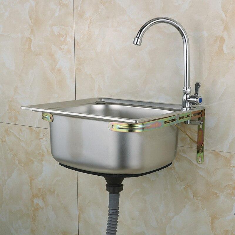 Moderne 304 roestvrijstalen aanrecht met wastafel kraan, enkele kom, Keuken accessoires, badrandcombinaties, met installion video - 4