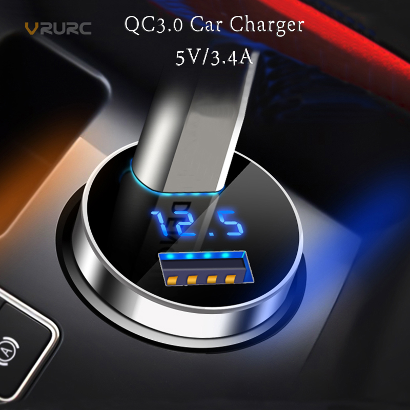 Vrurc Dual USB QC 3.0 Car Charger For iPhone X Digital LED Display 5V 3.4A Charging Voltage Monitoring For Samsung S8 S9