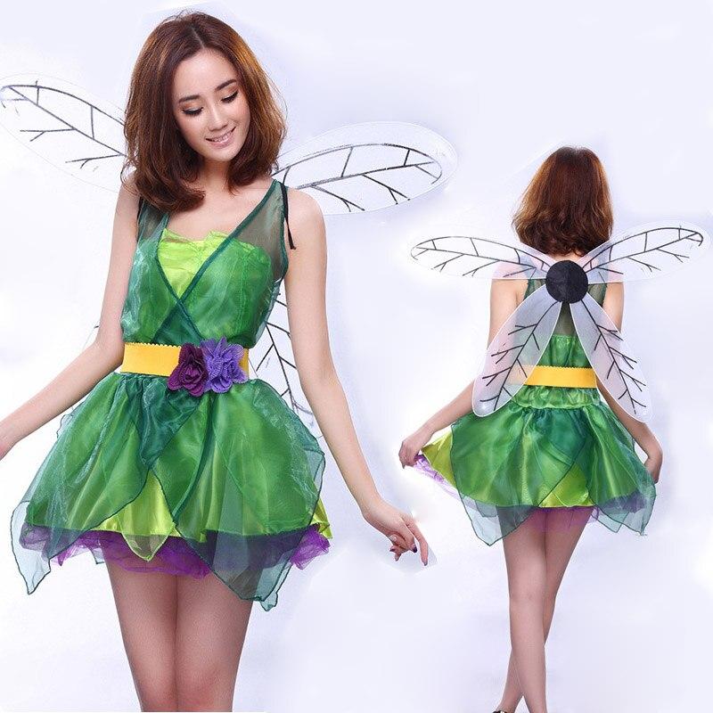 Women Cosplay Halloween Christmas Forest Green Elves Fairy Princess Costume Dress