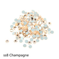 NON HOT FIX FLAT BACK  STONES FREE SHIPPING SS8,2.3MM,CHAMPAGNE COLOR,1440PCS/BAG, GLASS RHINESTONE FOR DIY CELL PHONE&NAIR ARTS