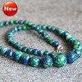 Nuevo Collar 6-14mm Turquía Turquoise Howlite Collar Mujeres Niñas Regalos de Flores Cuentas de Jaspe Verde 15 inch Joyería fabricación de Diseño