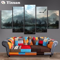 Frame Canvas Painting 5 Panels Skyrim Wall Art Painting Modern Home Decor Picture For Living Room