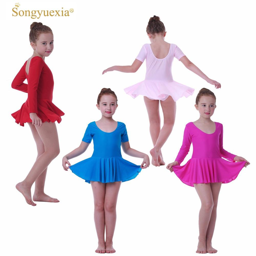 SONGYUEXIA Girls Ballet Dance Dress Childrens Gymnastics Leotard Skirt Kids Stage Dance Wear  4 Colors Girls Dance Costume