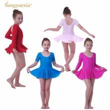 SONGYUEXIA Girls Ballet Dance Dress Childrens Gymnastics Leotard Skirt Kids Stage Wear  4 colors Costume