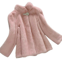 Rhinestone Button Fashion Short Mink Fur Coat Women Stand Collar 2018 Long Sleeve Women's Winter Coat Of Faux Fur Pink Fur Coat