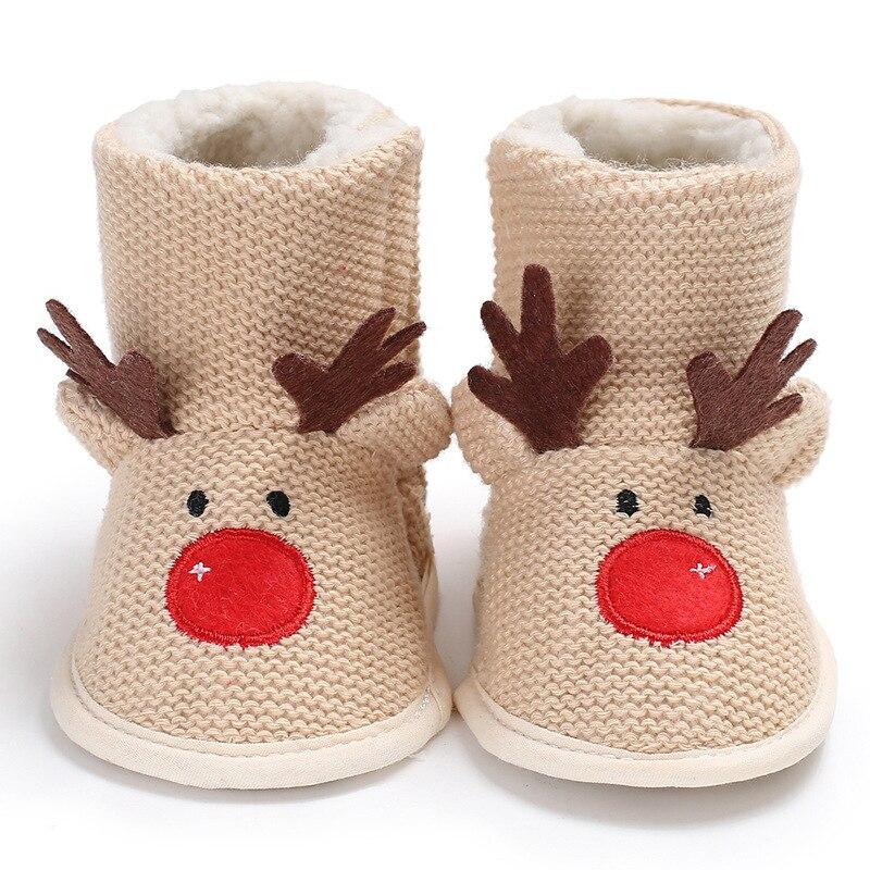 Raise Young Woolen Cartoon Elk Winter Warm Newborn Baby Girl Boots Soft Soles Toddler Girl Christian Shoes Infant Booties