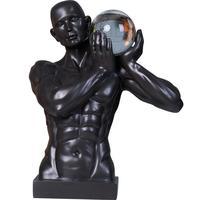 Abstract Sports Figure Hercules Crystal Ball Bust Statue Figurine Creative Art Sculpture Resin Craftwork Home Decoration R413