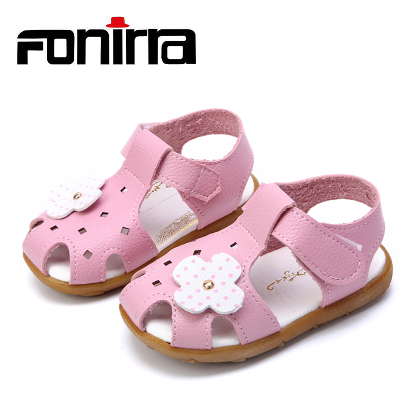 Toddlers Cute Stylish Sandal Baby Girls Summer Sandals Flora Beach Flat Sandals Cow Muscle Sole Leather Sandals 253