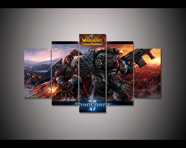 Video Game poster 5 panel HD printed canvas painting World of ...
