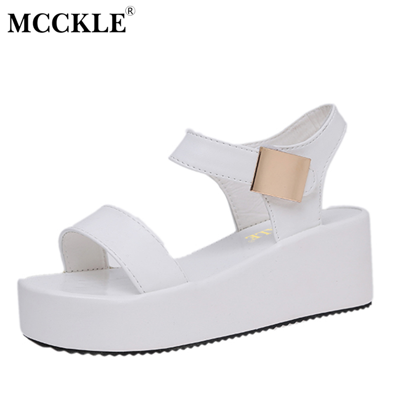 MCCKLE 2017 Summer Women Hool&Loop Solid Casual Sandals Female Platform Flat Front & Rear Strap Shoes Black And White куплю van hool 3b2007 aa тентованный полуприцеп 1997