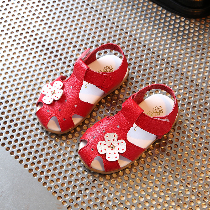 Childrens leather sandals summer new fashion red flowers tendon soft bottom boys and girls black kids princess shoes