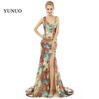 New Arrival Vestidos Sleeveless Chiffion Open Slit Court Women Formal Party Dresses V-Neck Long Prom Dresses x08077