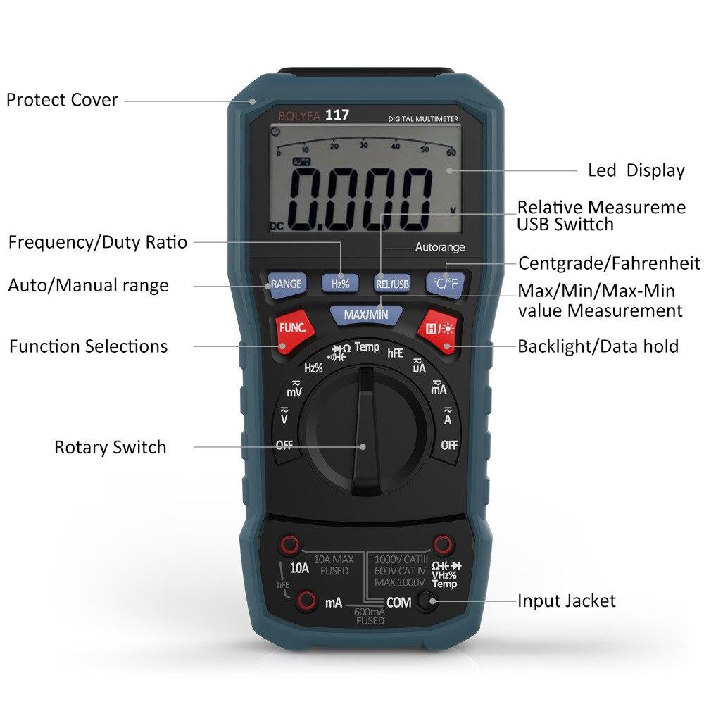 Multimètre numérique professionnel BOLYFA testeur de tension ca/cc véritable RMS Interface USB multimétro logiciel PC CD et sortie de données Fun
