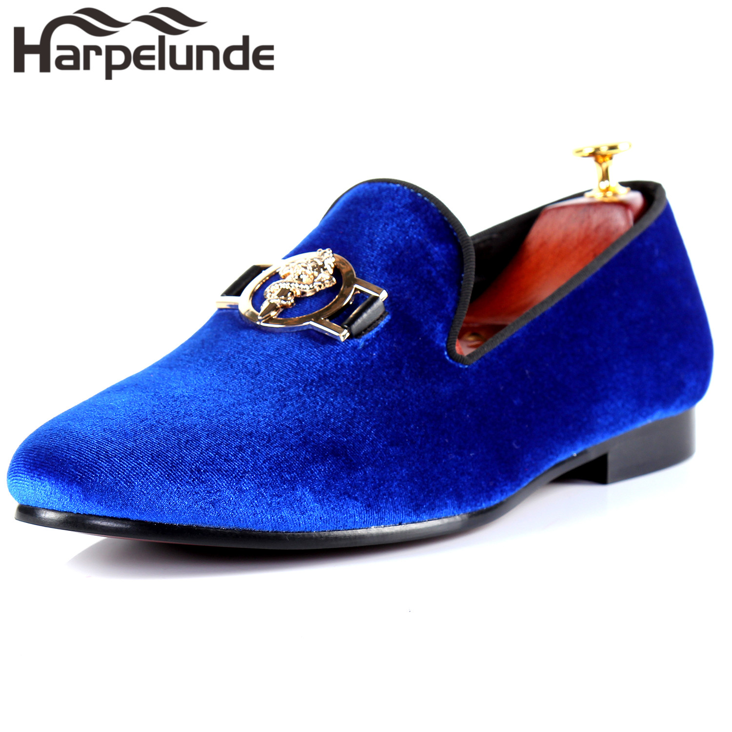 a1510832d4431 Harpelunde Gold Dragon Sword Men Party Shoes Buckle Strap Dress Shoes Top  Sell Blue Velvet Loafers