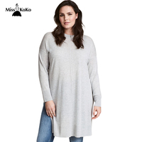 Misskoko Kissmilk Women Plus Size O Neck Solid Long Sweater Side Split Long Seeve Casual Sweater