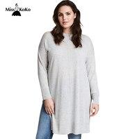 Misskoko Kissmilk Women Plus Size O Neck Solid Long Sweater Side Split Long Seeve Casual Sweater